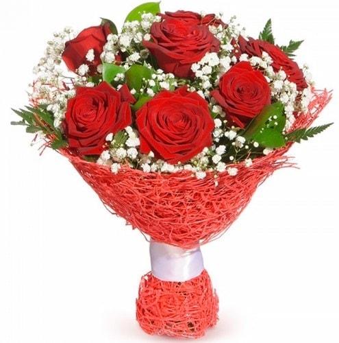 7 adet kırmızı gül buketi  Bilecik çiçekçi çiçekçiler